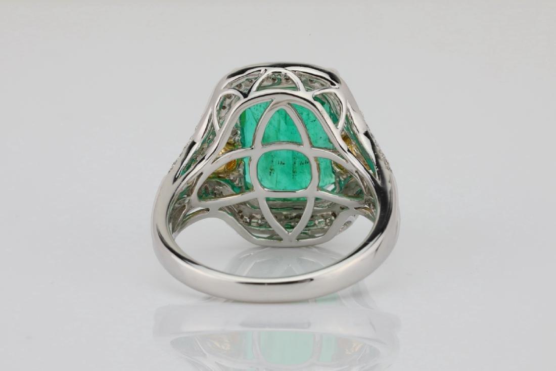 6.35ct Emerald, .8ctw Yellow/White Diamond 18K Ring - 8