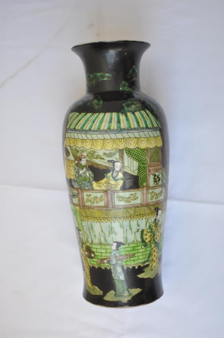 Vietnamese Qing Dynasty Famille Noire Verte Vase - 5
