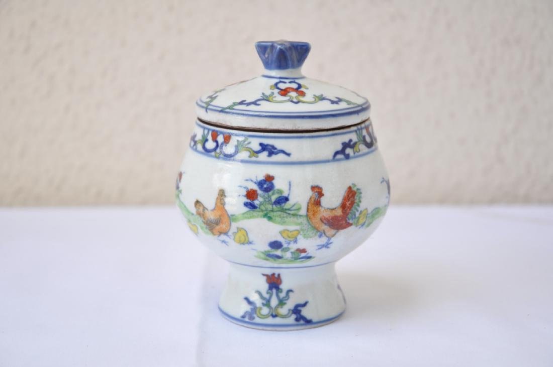 Vietnamese Qing Dynasty Period Wucai Chicken Bowl