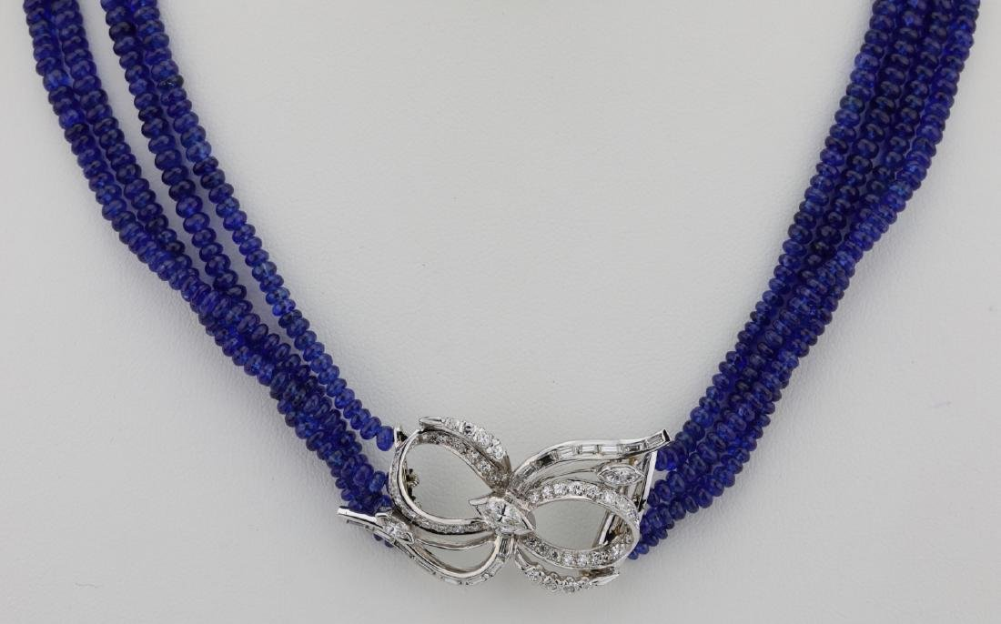 325ctw Blue Sapphire & Diamond Platinum Necklace