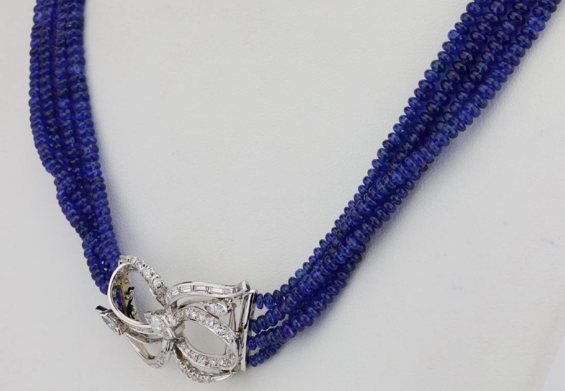 325ctw Blue Sapphire & Diamond Platinum Necklace - 3