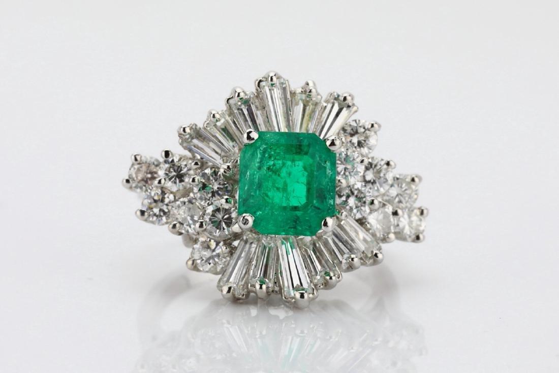 1.5ct Emerald, 1.75ctw Diamond 14K Cocktail Ring