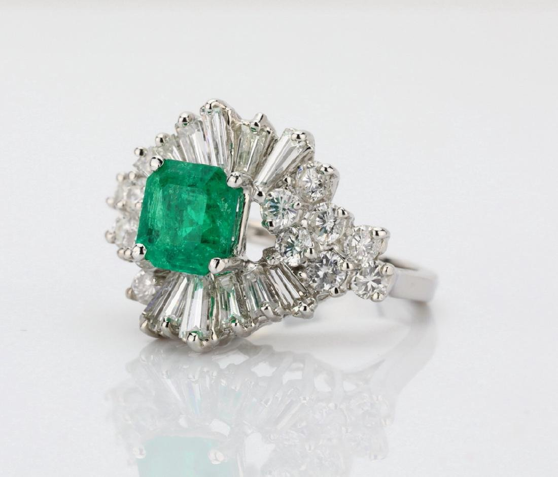 1.5ct Emerald, 1.75ctw Diamond 14K Cocktail Ring - 2