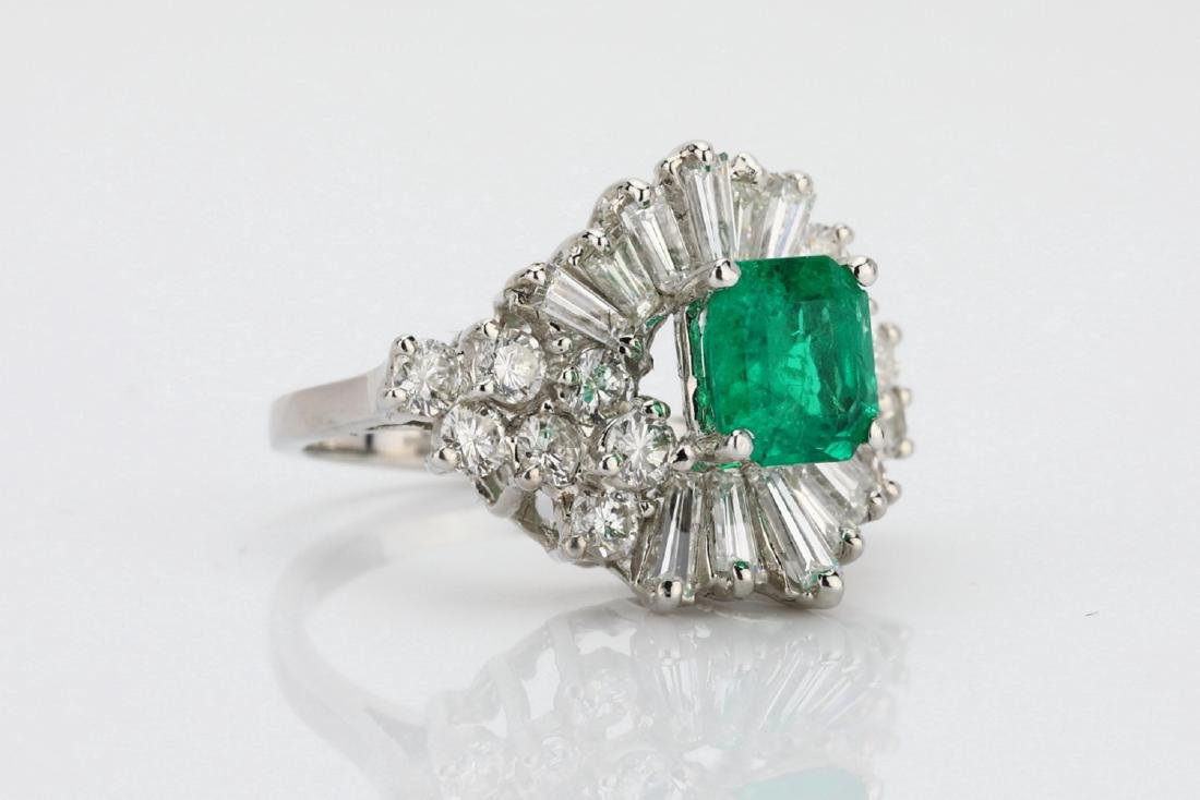 1.5ct Emerald, 1.75ctw Diamond 14K Cocktail Ring - 3
