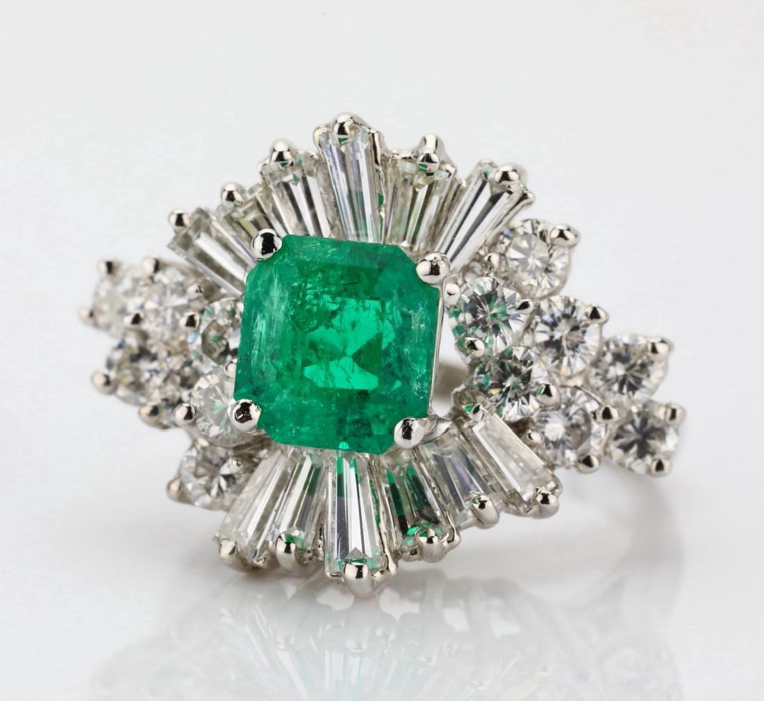 1.5ct Emerald, 1.75ctw Diamond 14K Cocktail Ring - 4