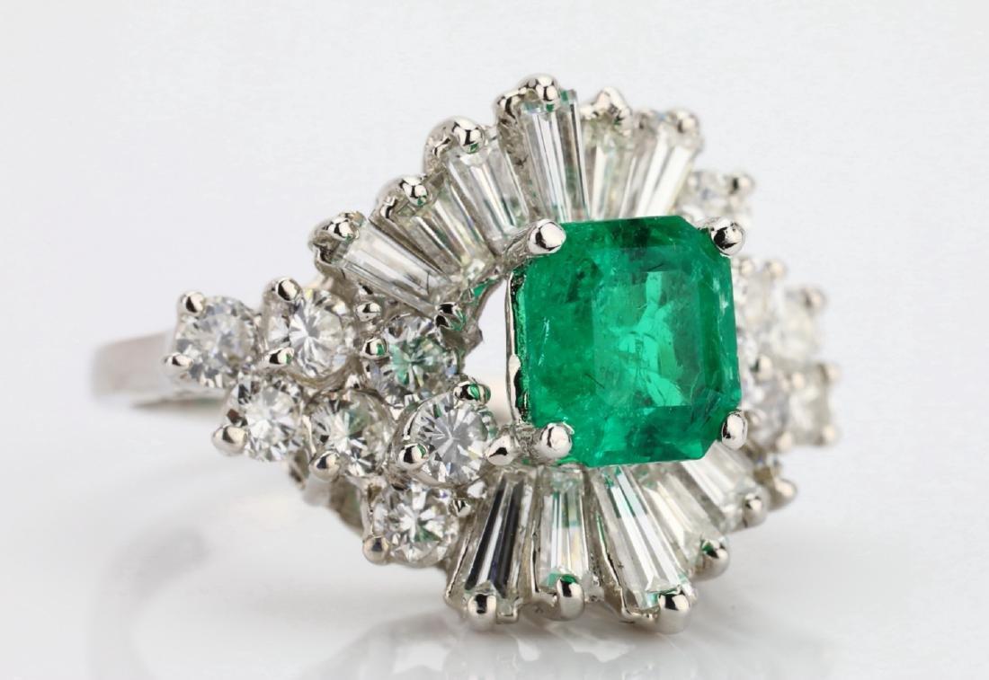 1.5ct Emerald, 1.75ctw Diamond 14K Cocktail Ring - 5