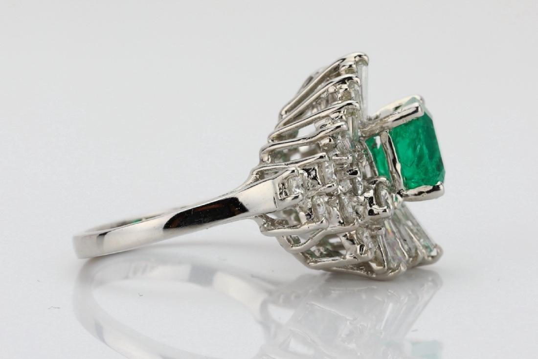 1.5ct Emerald, 1.75ctw Diamond 14K Cocktail Ring - 7