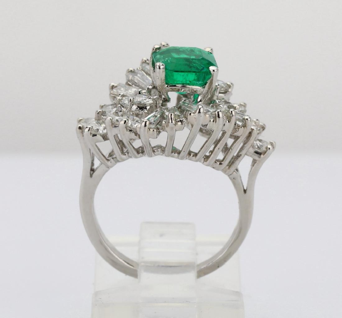 1.5ct Emerald, 1.75ctw Diamond 14K Cocktail Ring - 9