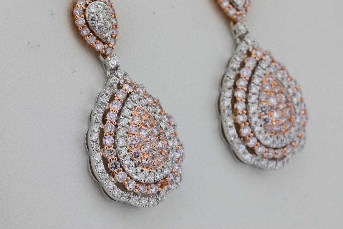 1.85ctw Argyle Pink & White Diamond 14K Earrings - 4