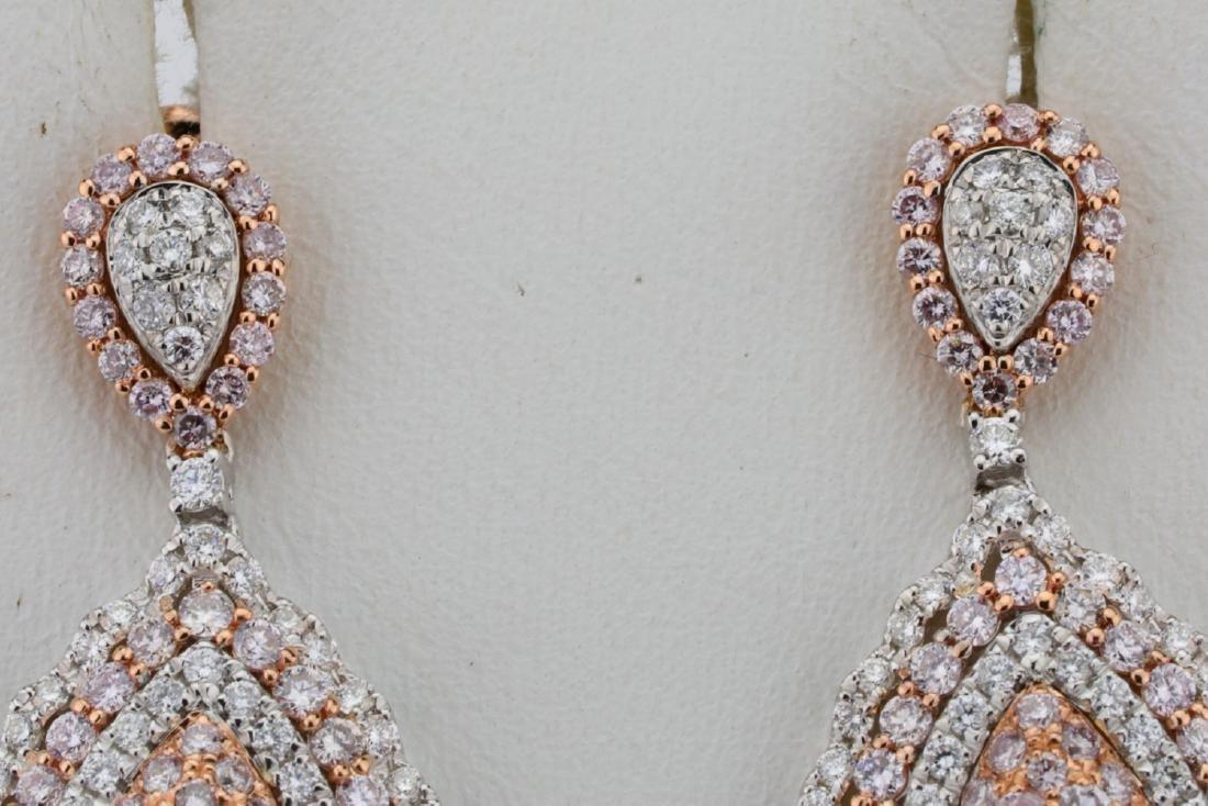 1.85ctw Argyle Pink & White Diamond 14K Earrings - 5