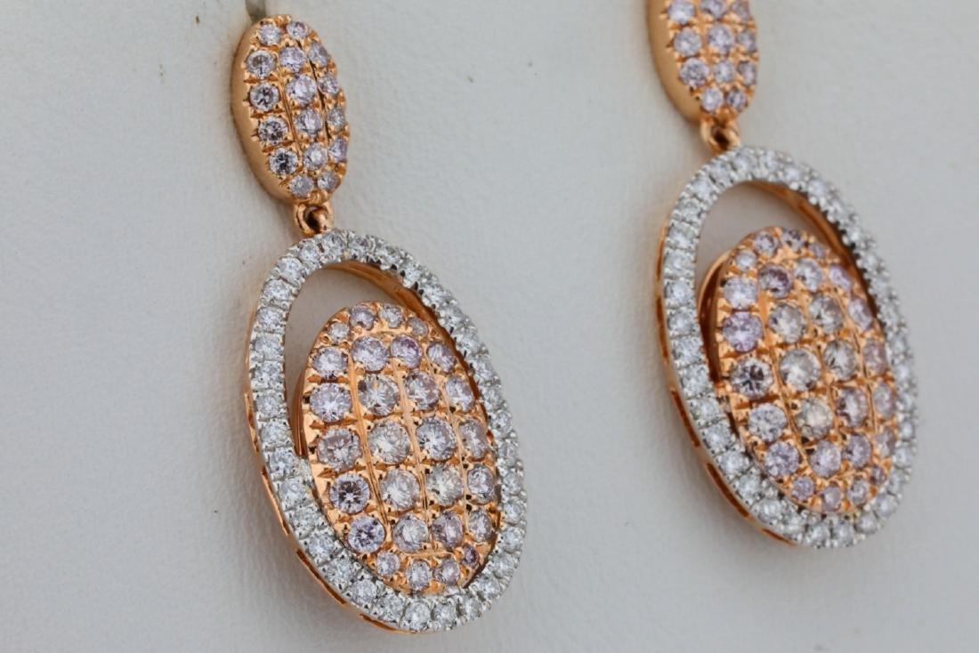 1.80ctw Argyle Pink & White Diamond 14K Earrings - 3