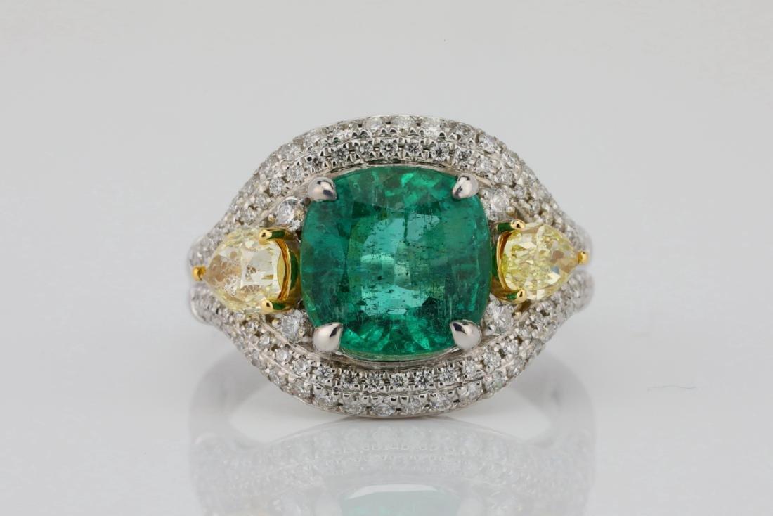 3.85ct Emerald & 1.75ctw Yellow/White Diamond Ring