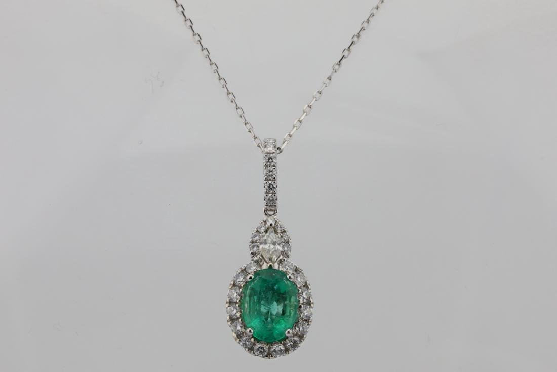 1.75ct Emerald, 0.75ctw Diamond & 14K Necklace