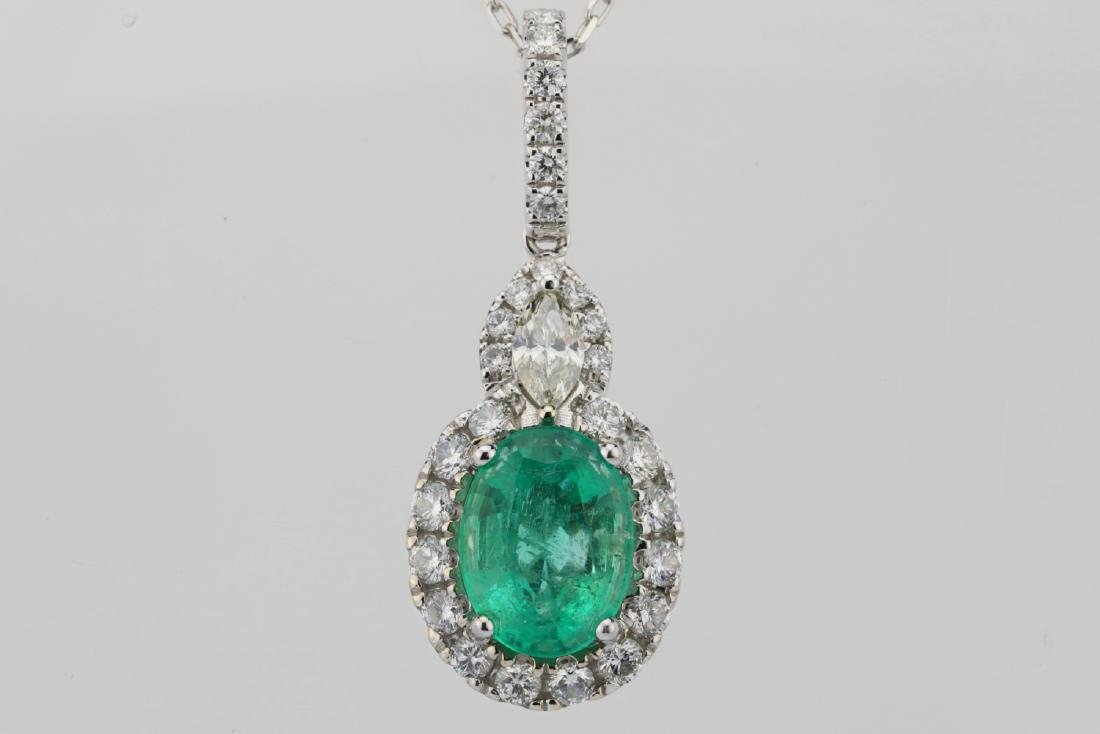 1.75ct Emerald, 0.75ctw Diamond & 14K Necklace - 2