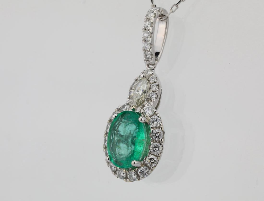 1.75ct Emerald, 0.75ctw Diamond & 14K Necklace - 3