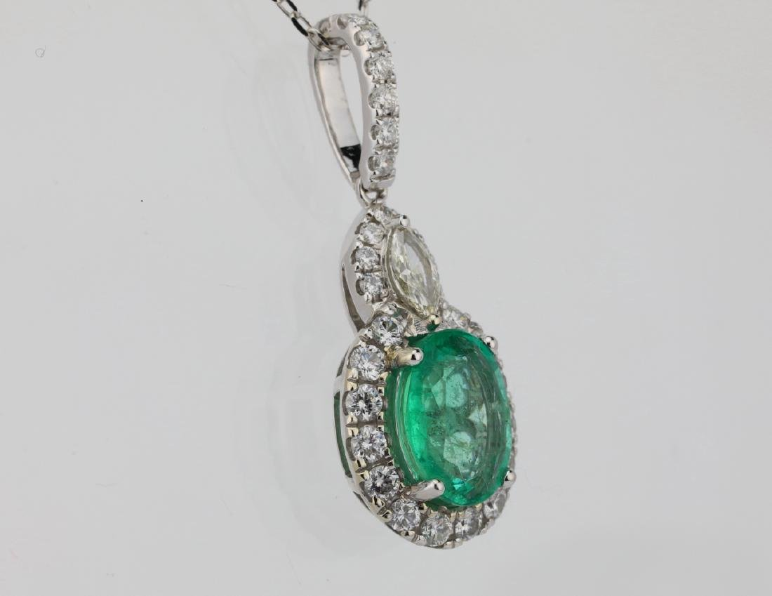 1.75ct Emerald, 0.75ctw Diamond & 14K Necklace - 4