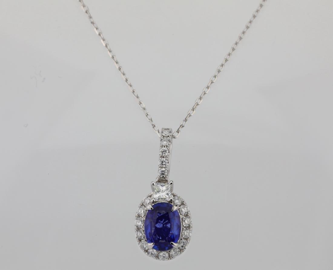 1.45ct Blue Sapphire, .55ctw Diamond 14K Necklace