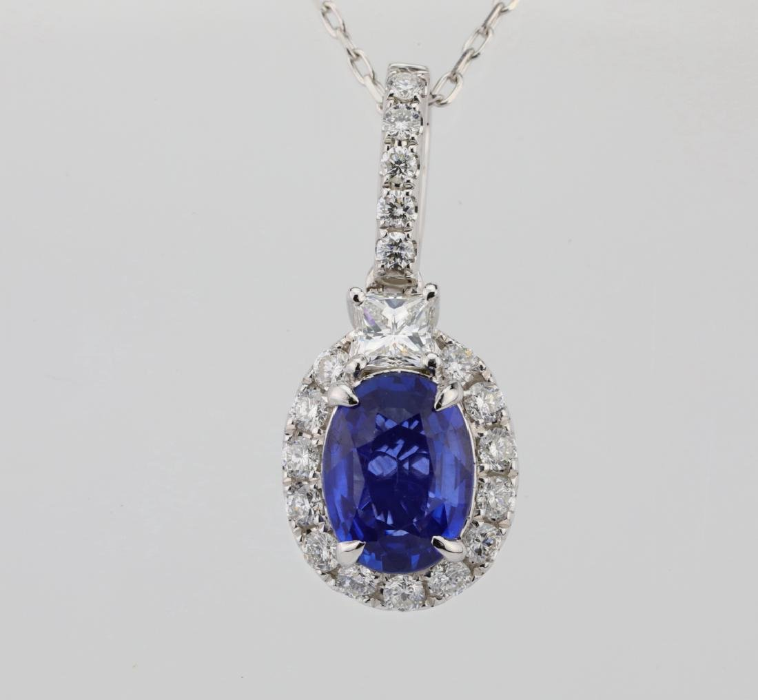 1.45ct Blue Sapphire, .55ctw Diamond 14K Necklace - 2