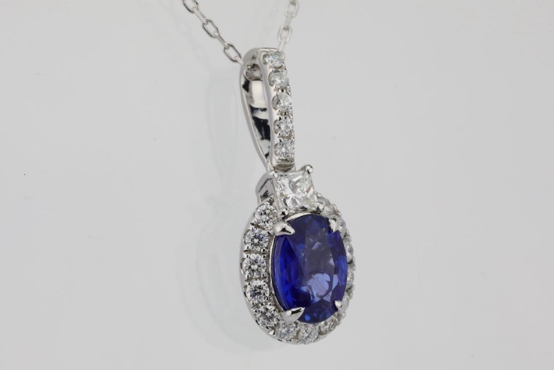 1.45ct Blue Sapphire, .55ctw Diamond 14K Necklace - 4