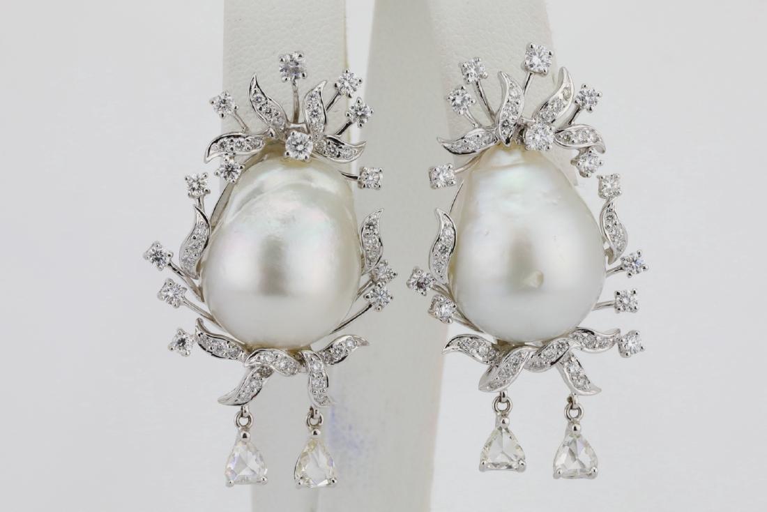 18mm South Sea Pearl, 5.75ctw Diamond 18K Earrings