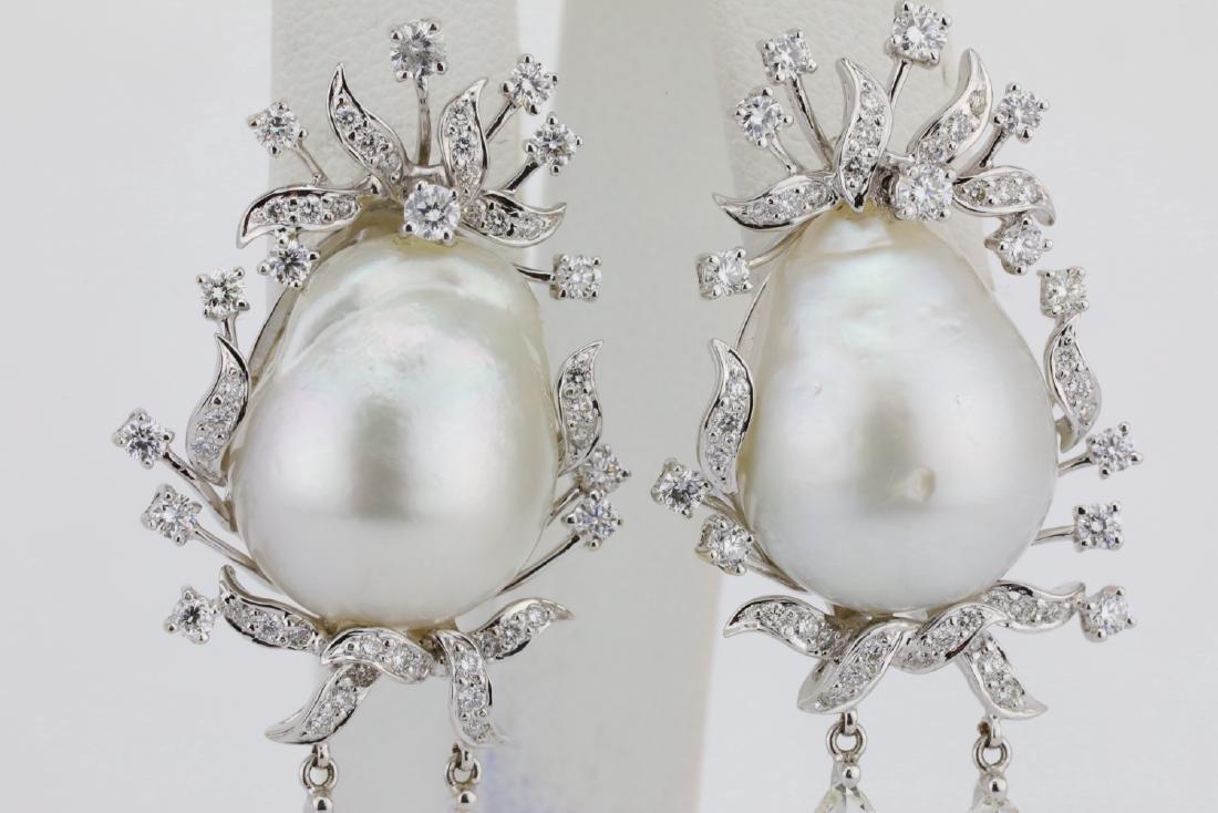 18mm South Sea Pearl, 5.75ctw Diamond 18K Earrings - 2
