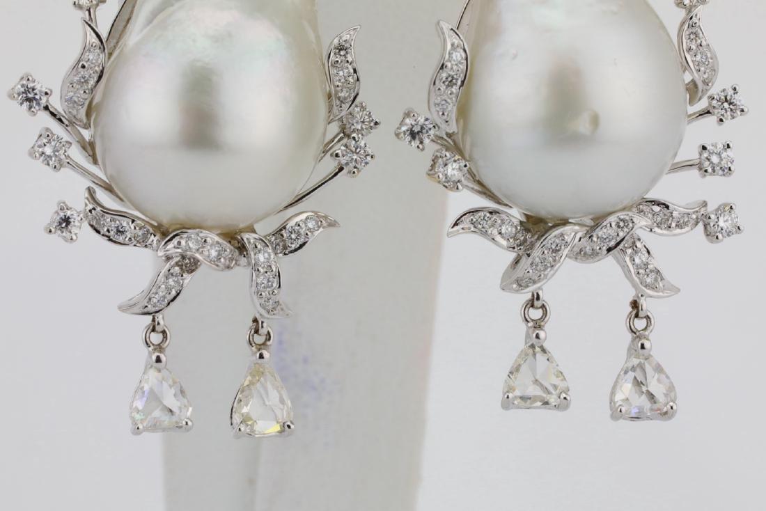18mm South Sea Pearl, 5.75ctw Diamond 18K Earrings - 3