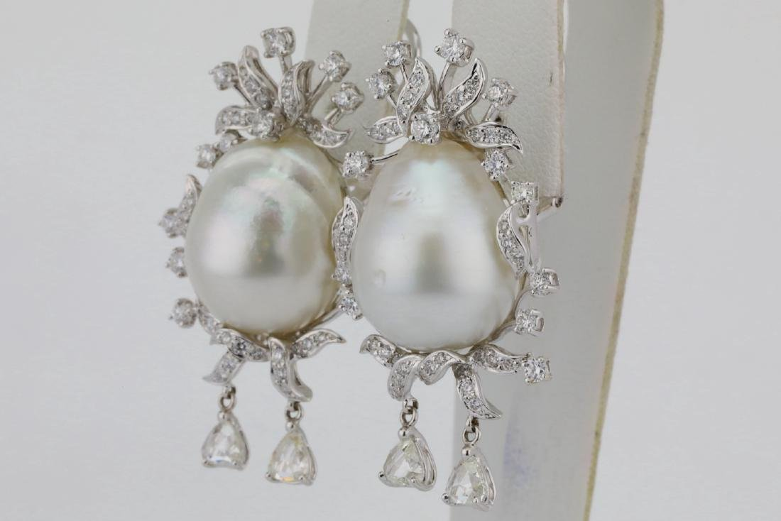 18mm South Sea Pearl, 5.75ctw Diamond 18K Earrings - 4