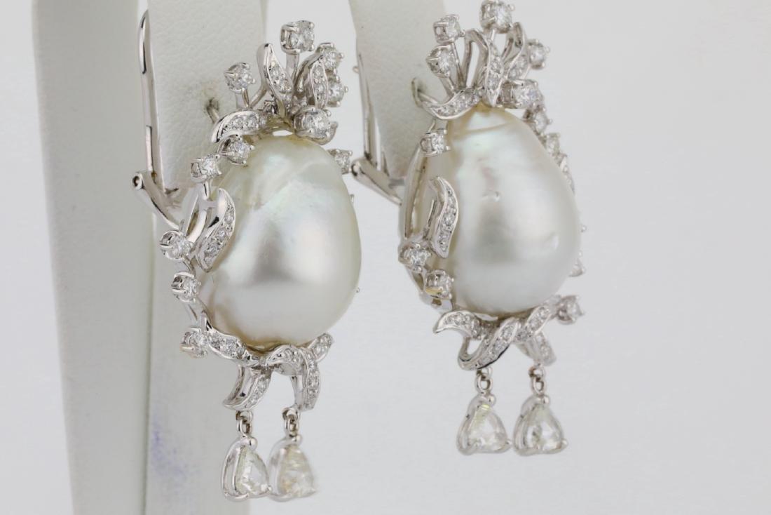 18mm South Sea Pearl, 5.75ctw Diamond 18K Earrings - 5