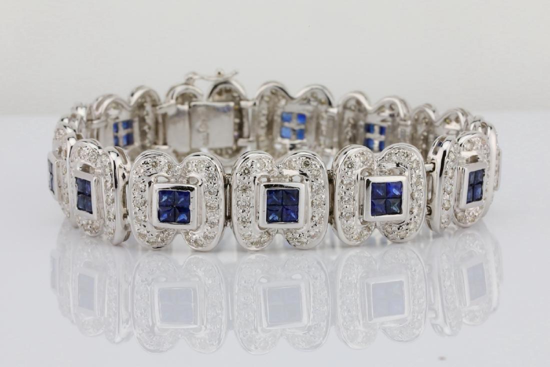 4.15ctw Blue Sapphire, 3ctw Diamond 18K Bracelet