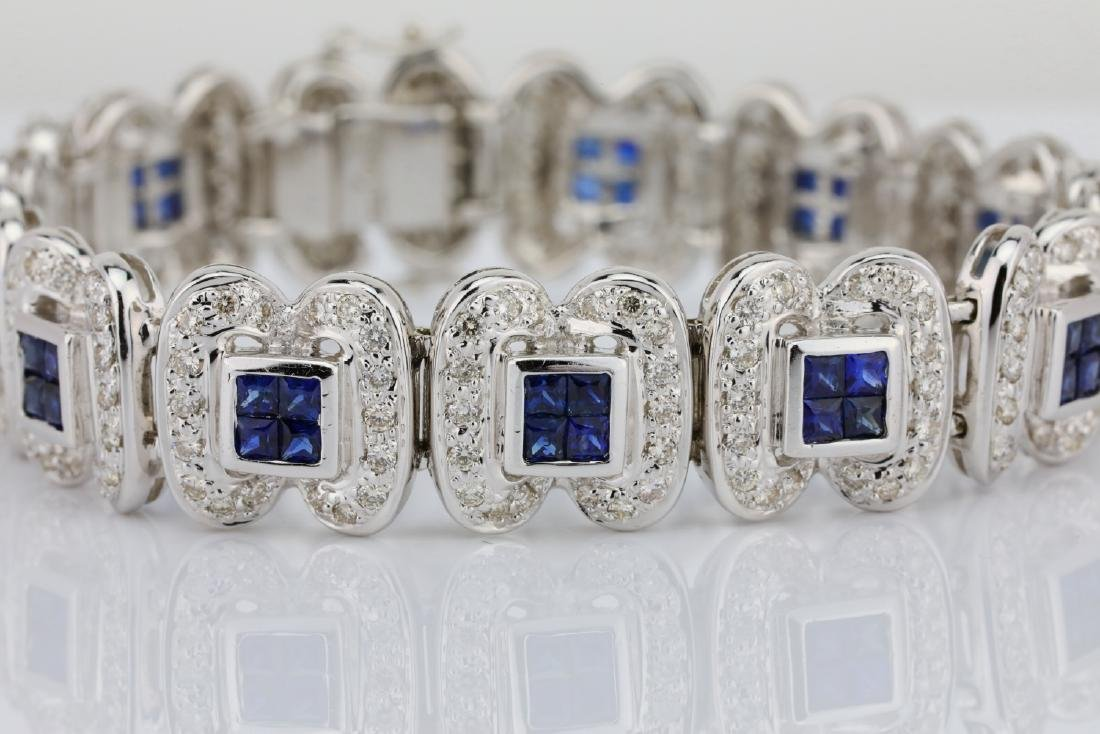 4.15ctw Blue Sapphire, 3ctw Diamond 18K Bracelet - 2