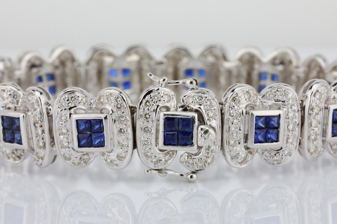 4.15ctw Blue Sapphire, 3ctw Diamond 18K Bracelet - 5