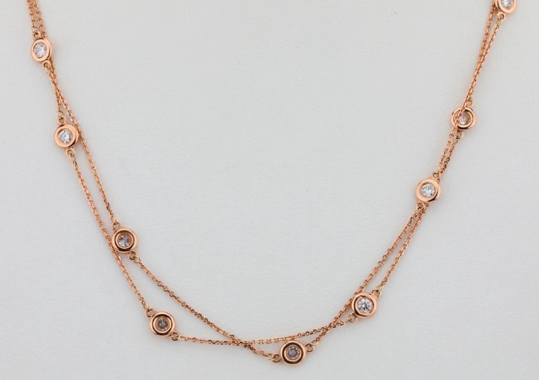 """2ctw SI1-SI2/G-H Diamond 14K 32"""" Sautoir Necklace"""