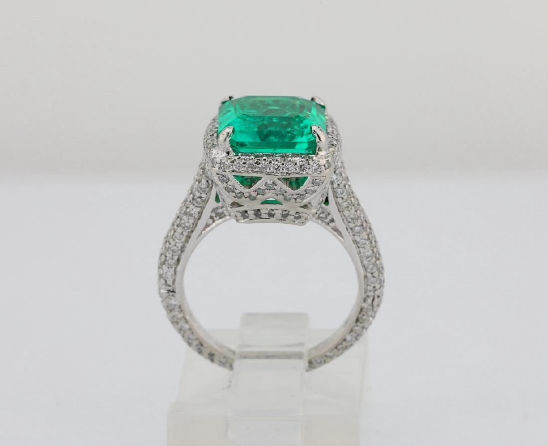 4.75ct Emerald, 0.88ctw Diamond & Platinum Ring - 10