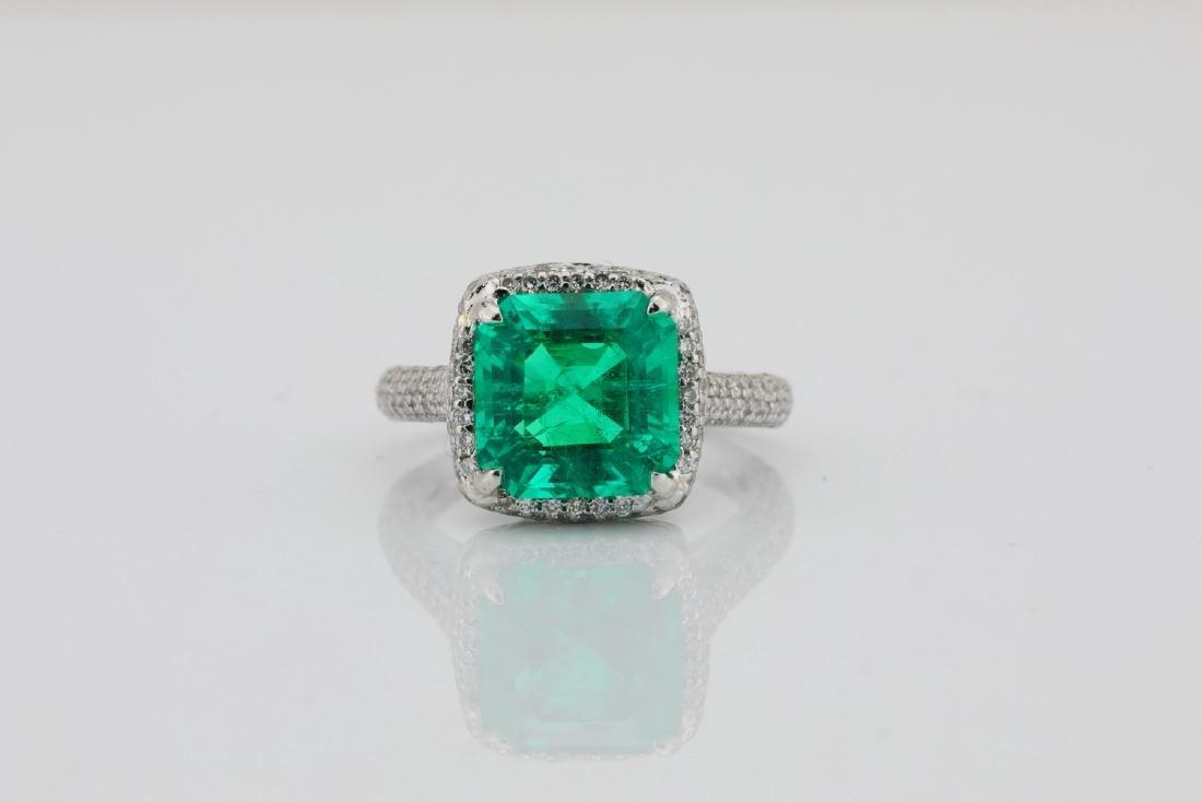 4.75ct Emerald, 0.88ctw Diamond & Platinum Ring