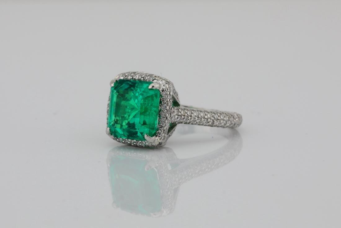4.75ct Emerald, 0.88ctw Diamond & Platinum Ring - 2