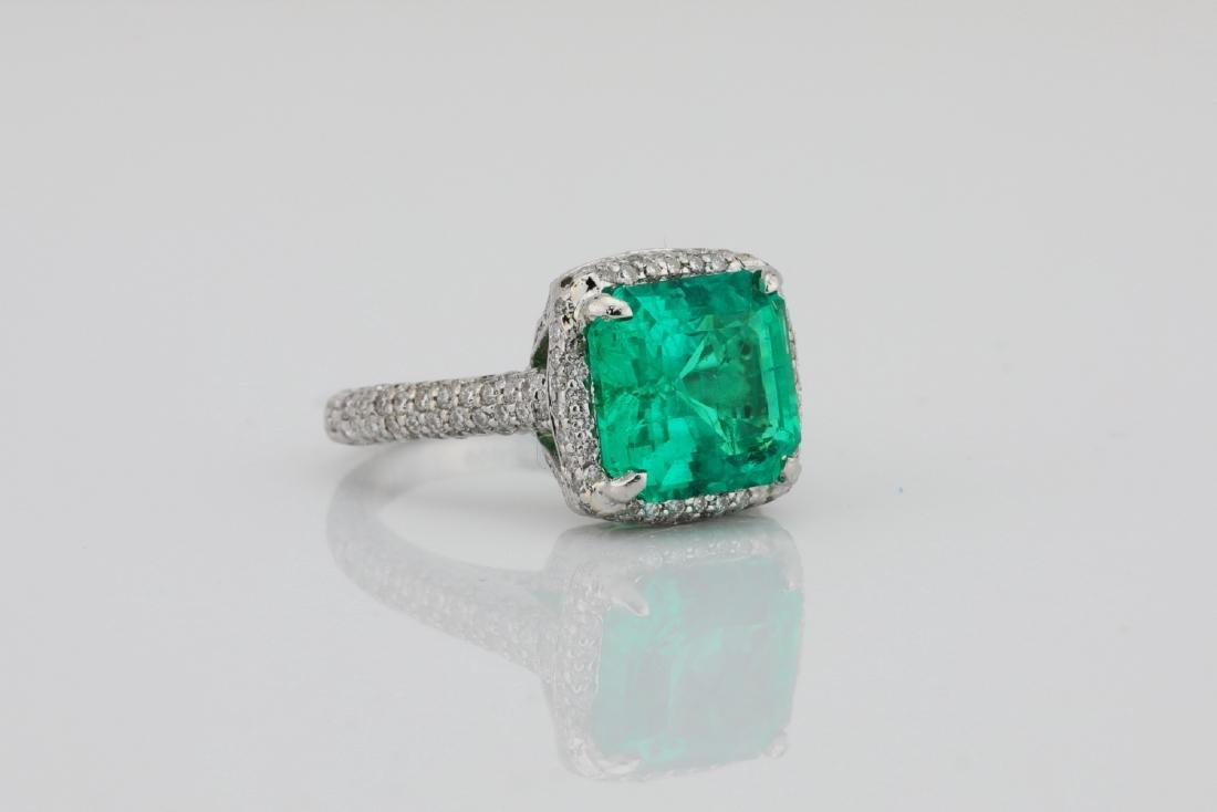 4.75ct Emerald, 0.88ctw Diamond & Platinum Ring - 3