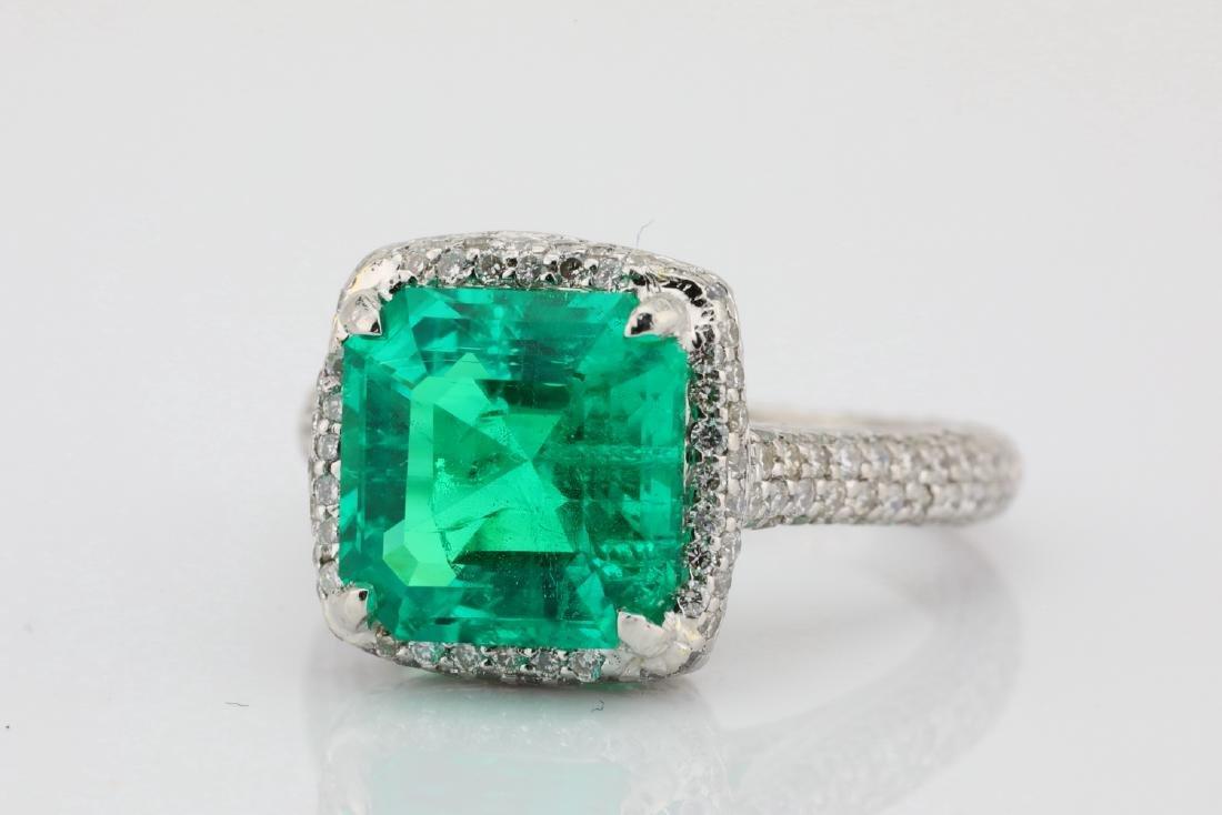 4.75ct Emerald, 0.88ctw Diamond & Platinum Ring - 4