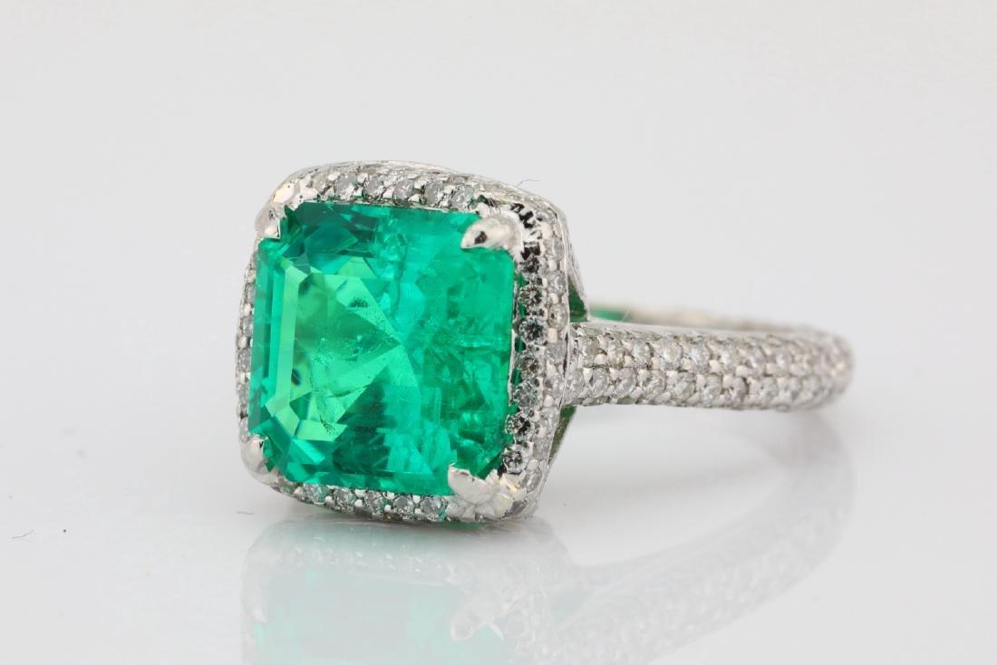4.75ct Emerald, 0.88ctw Diamond & Platinum Ring - 6
