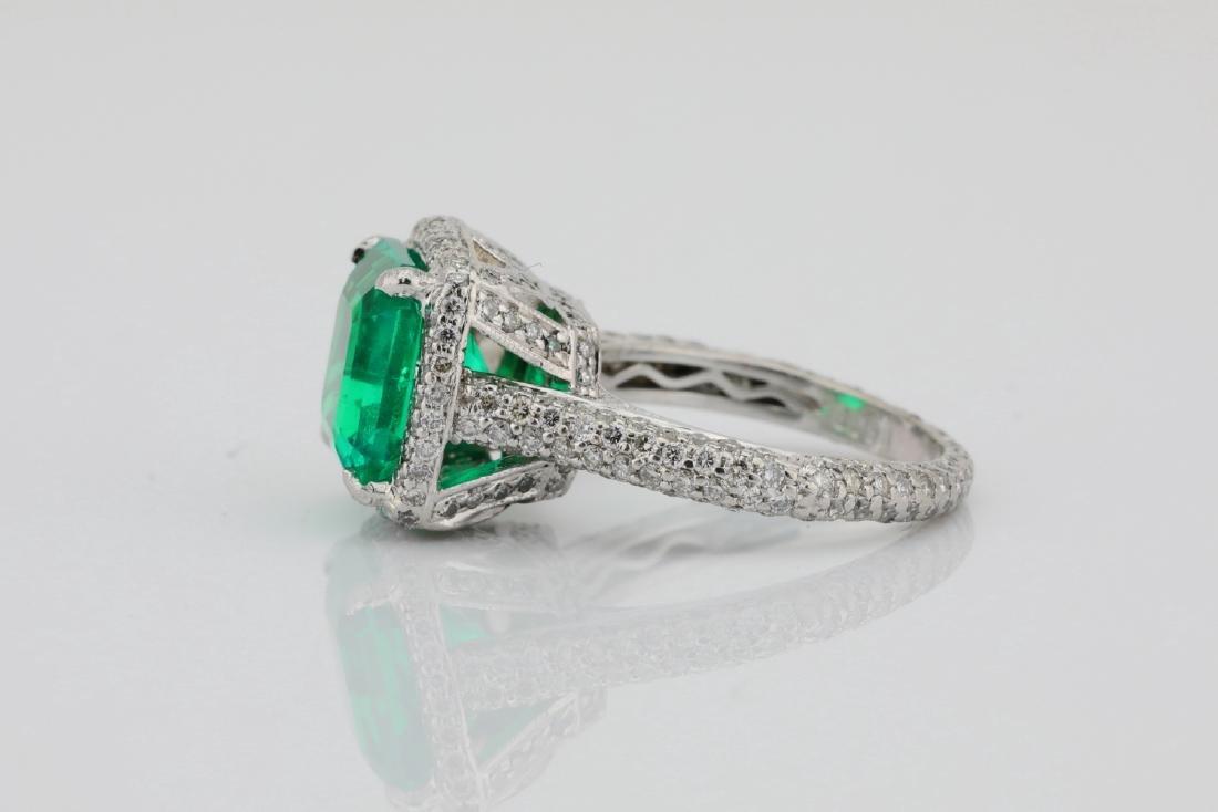 4.75ct Emerald, 0.88ctw Diamond & Platinum Ring - 7