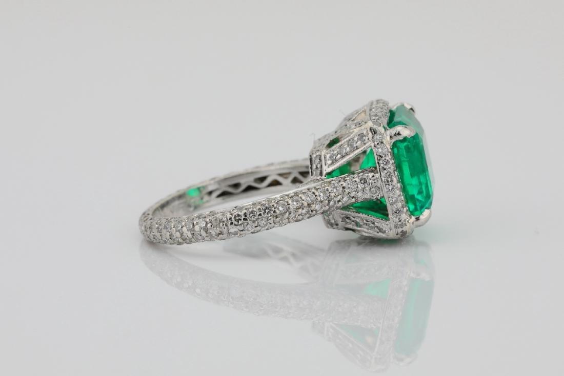 4.75ct Emerald, 0.88ctw Diamond & Platinum Ring - 8