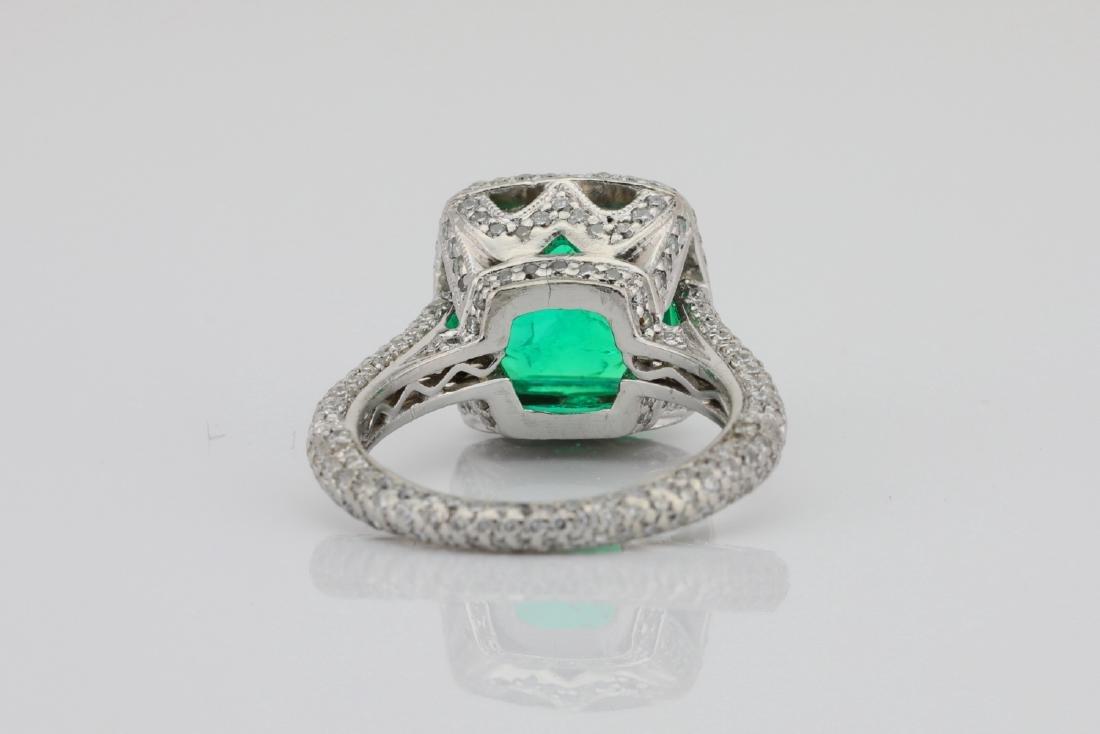 4.75ct Emerald, 0.88ctw Diamond & Platinum Ring - 9