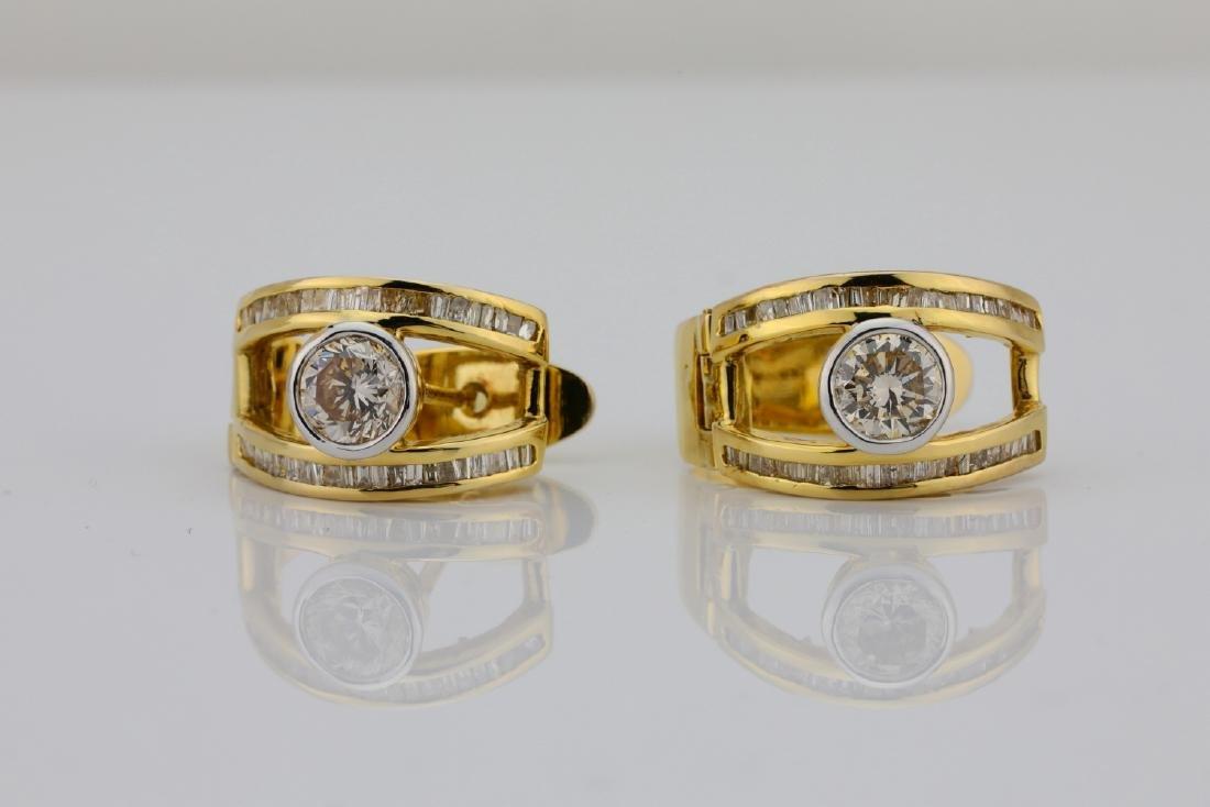 2ctw SI1-SI2/G-H Diamond & 14K Semi-Hoop Earrings