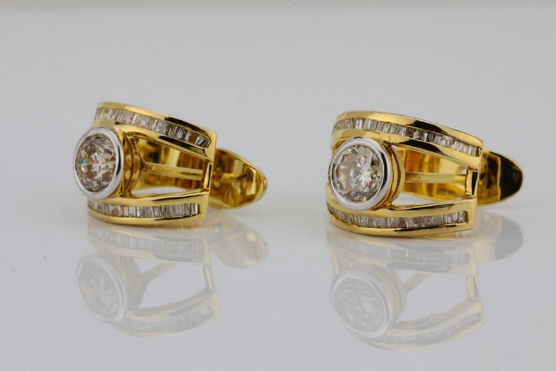 2ctw SI1-SI2/G-H Diamond & 14K Semi-Hoop Earrings - 2