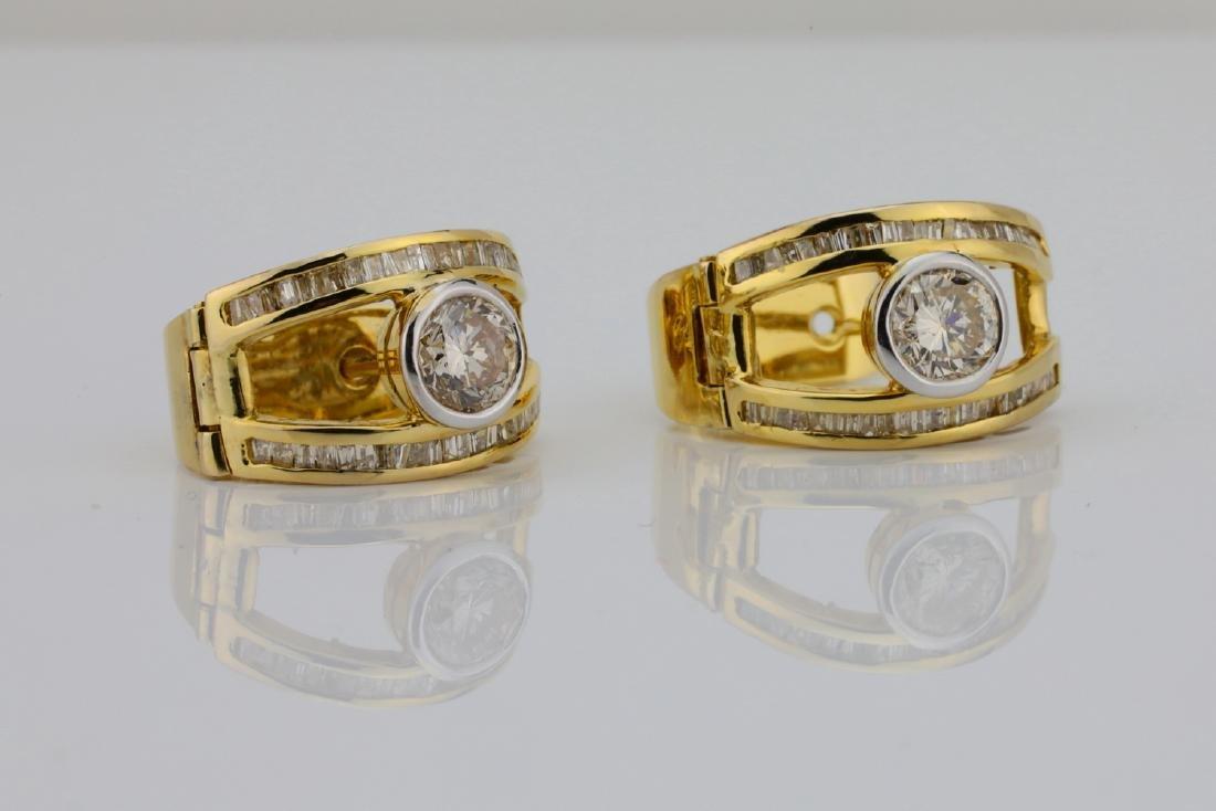 2ctw SI1-SI2/G-H Diamond & 14K Semi-Hoop Earrings - 3