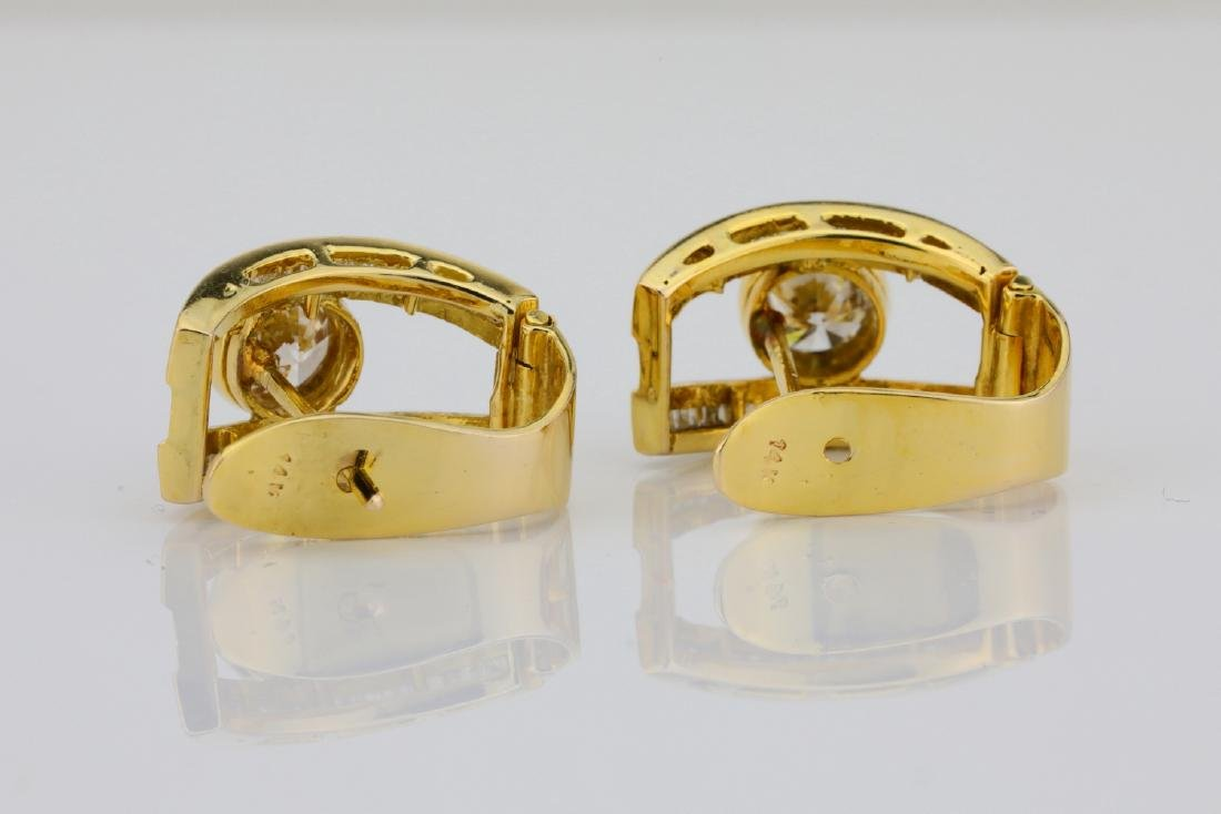 2ctw SI1-SI2/G-H Diamond & 14K Semi-Hoop Earrings - 6