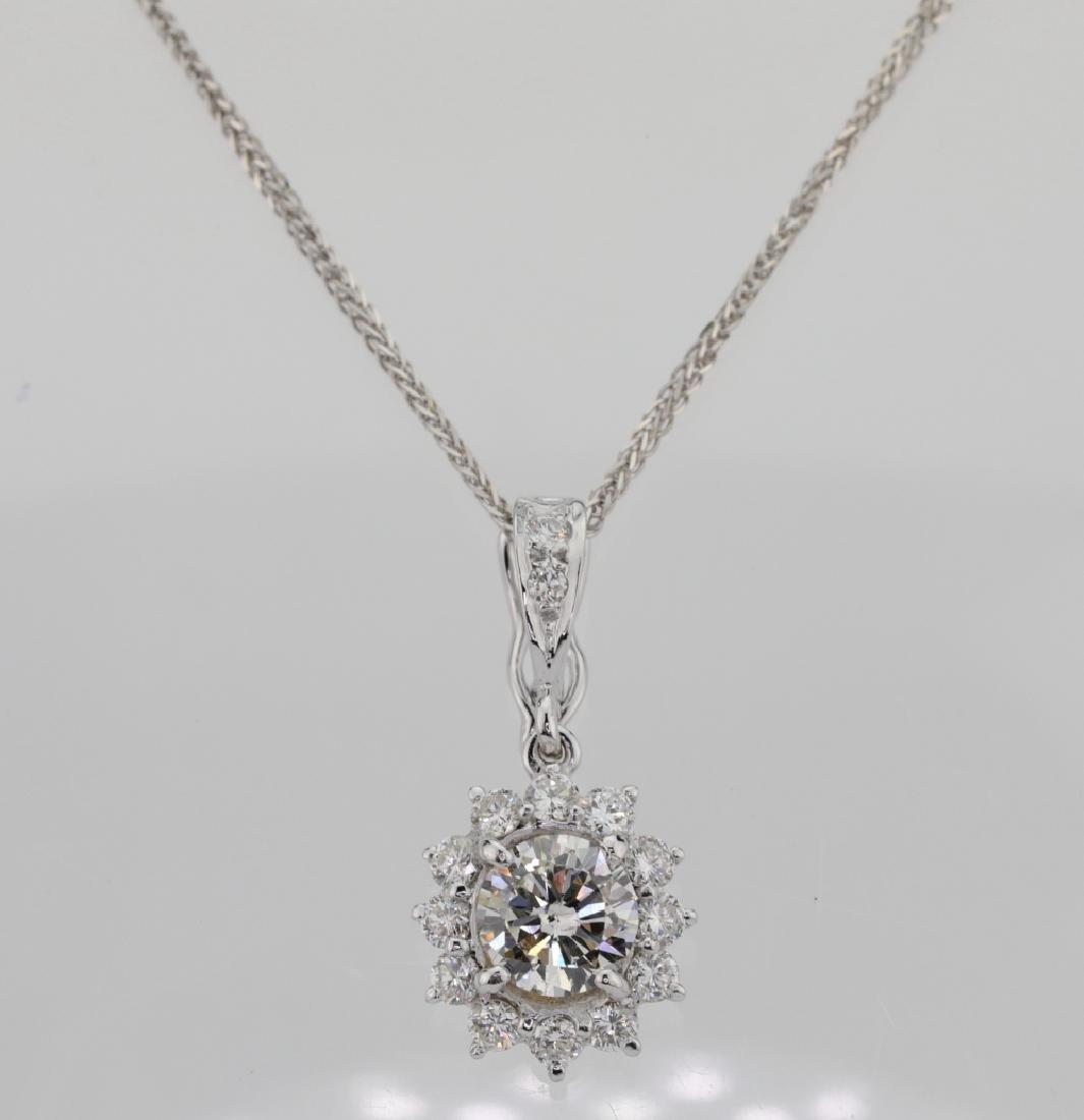 1.15ctw Diamond & 18K Pendant on 14K Chain
