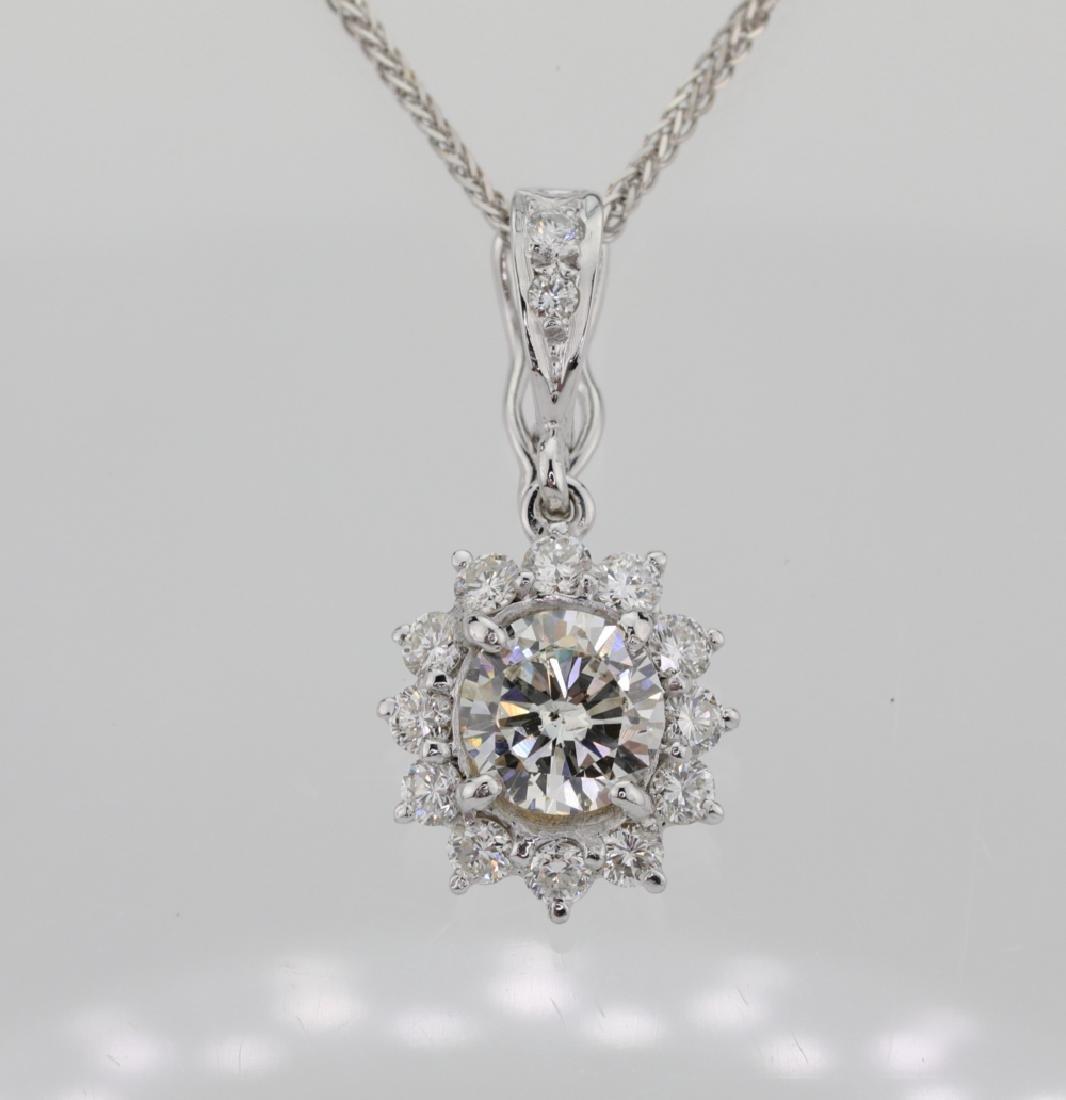 1.15ctw Diamond & 18K Pendant on 14K Chain - 2