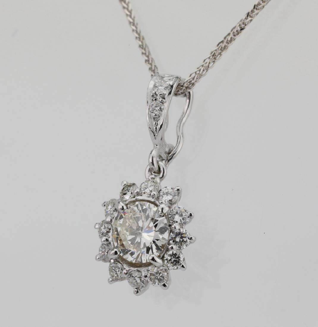 1.15ctw Diamond & 18K Pendant on 14K Chain - 3