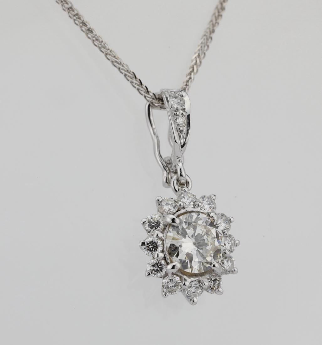 1.15ctw Diamond & 18K Pendant on 14K Chain - 4