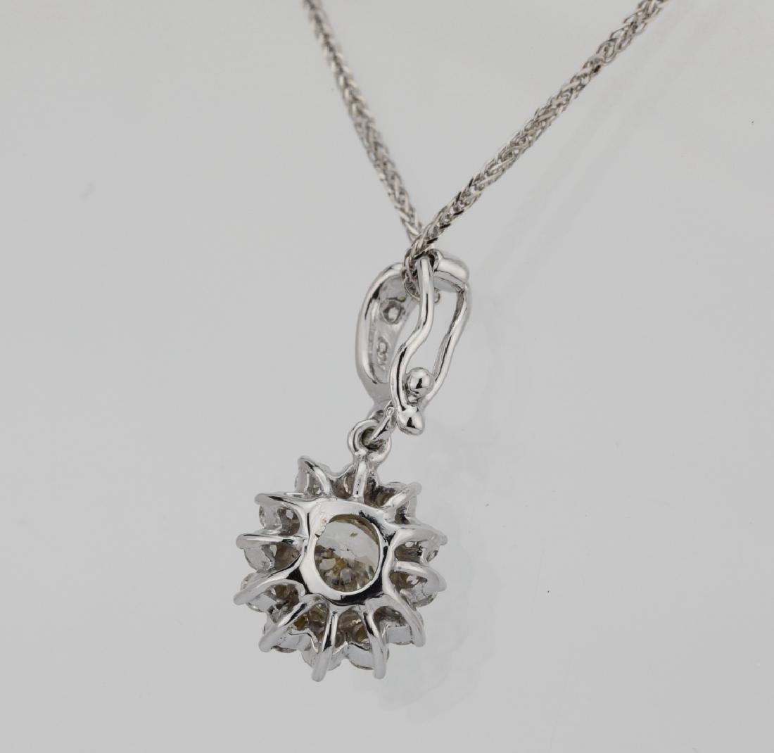 1.15ctw Diamond & 18K Pendant on 14K Chain - 5